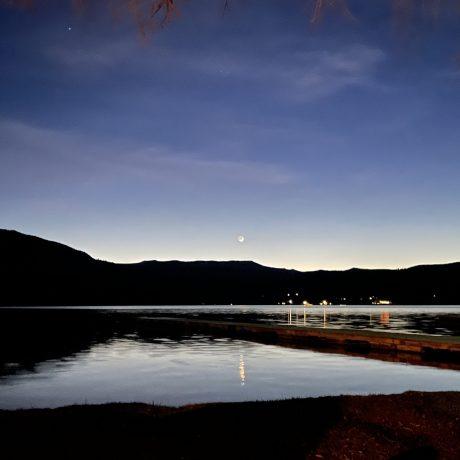 Lake at night image